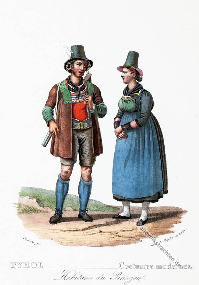 Pinzgau, Tirol, historische Kostüme, Modegeschichte, Kostümgeschichte, Österreich, Historische Kleidung, Tipi costumi Pusteria Tirolo,