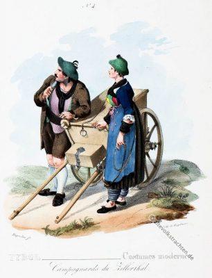 Zillertal, Bauerntrachten, Tirol, Österreich, Trachten, Historische Kleidung, Dirndl,  Kostümgeschichte