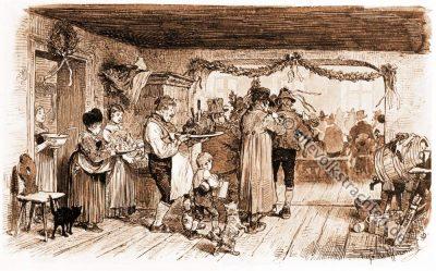 Hochzeitsschmaus, Bauernhochzeit, Trachten, Bayern, Bauernstube, Brautwerbung, Hugo Kaufmann