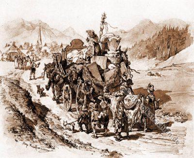 Brautwagen, Bauernhochzeit, Trachten, Bayern, Bauernstube, Brautwerbung, Hugo Kaufmann