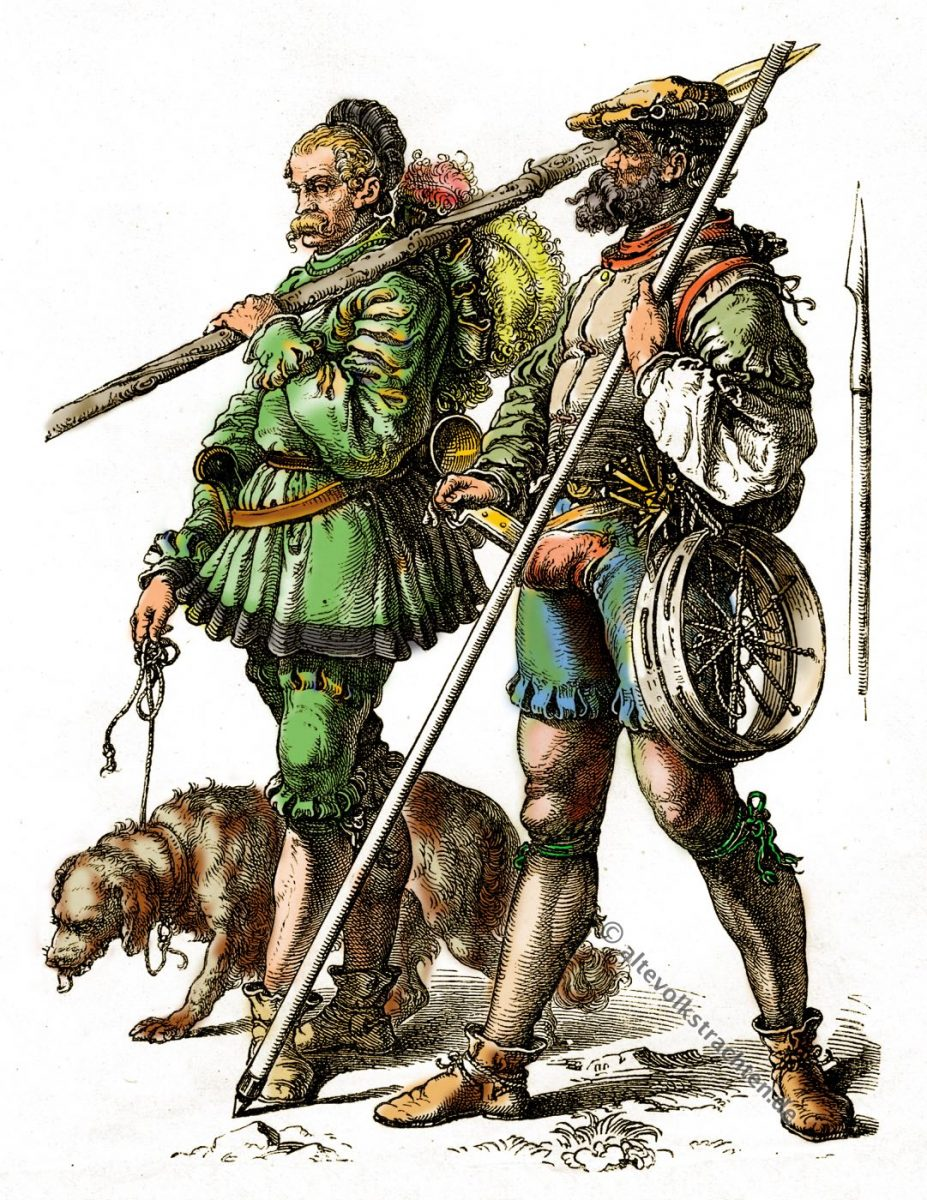 Gebirgsjäger, Schneereif, 16. Jahrhunderts, Münchener Bilderbogen, historische Kostüme, Modegeschichte