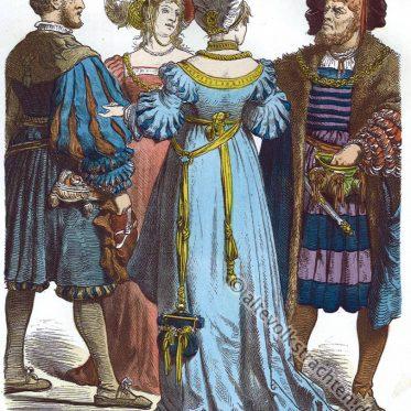 Deutsche Bürger Trachten der Renaissance im 16. Jahrhundert.
