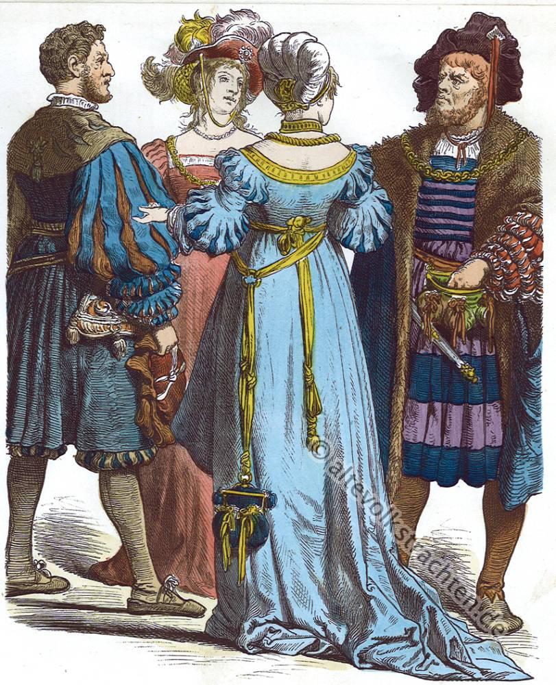Münchener Bilderbogen, Deutsche Bürger Trachten, 16. Jahrhundert, Mode, Renaissance Kostüme
