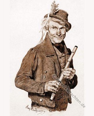 Flötenspieler, Bauernhochzeit, Trachten, Bayern, Bauernstube, Brautwerbung, Hugo Kaufmann