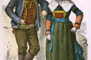Landtrachten, Bauerntrachten, Volkskostüme, Trachten, Bretagne, Frankreich, Münchener Bilderbogen, Kostüme