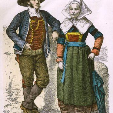 Trachten der Bretagne im 19. Jahrhundert. Münchener Bilderbogen.