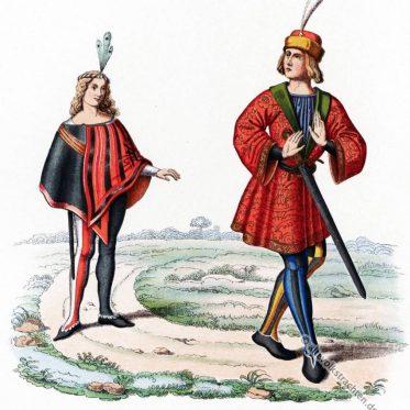Mode des Mi-Parti oderparti-color im 15. Jahrhundert.