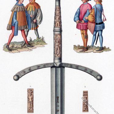 Schwert und Trachten des 15. Jahrhunderts in Deutschland.
