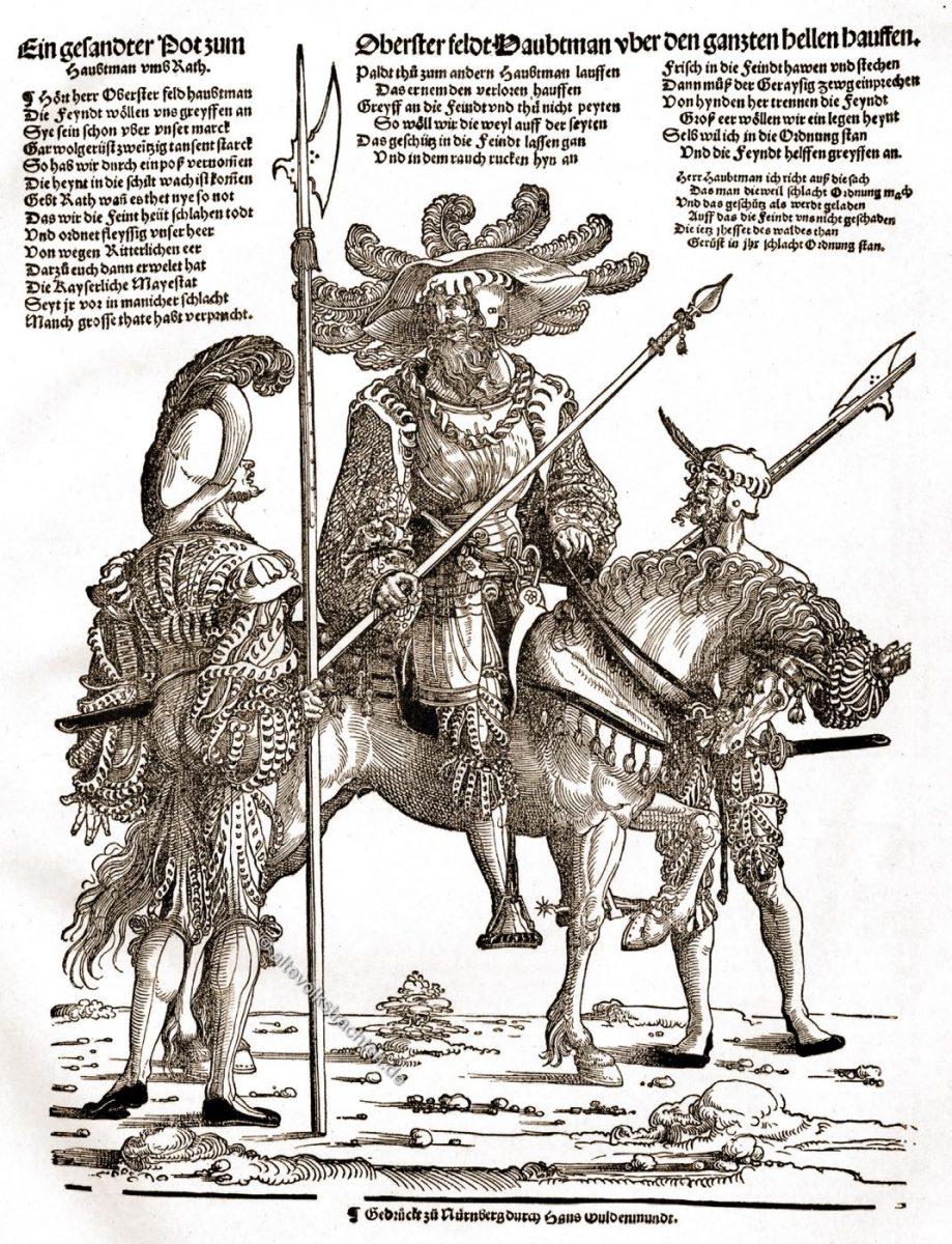 Feldhauptmann, Landsknechte, Remaissamce. Soldaten, Trachten, Kleidung
