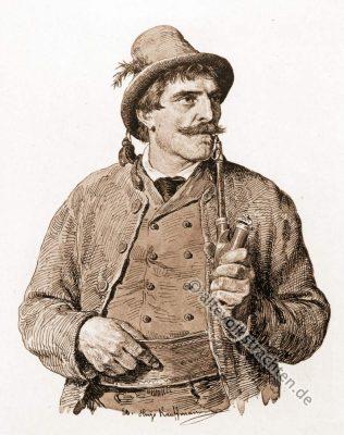 Kranzlherr, Bauernhochzeit, Trachten, Bayern, Bauernstube, Brautwerbung, Hugo Kaufmann