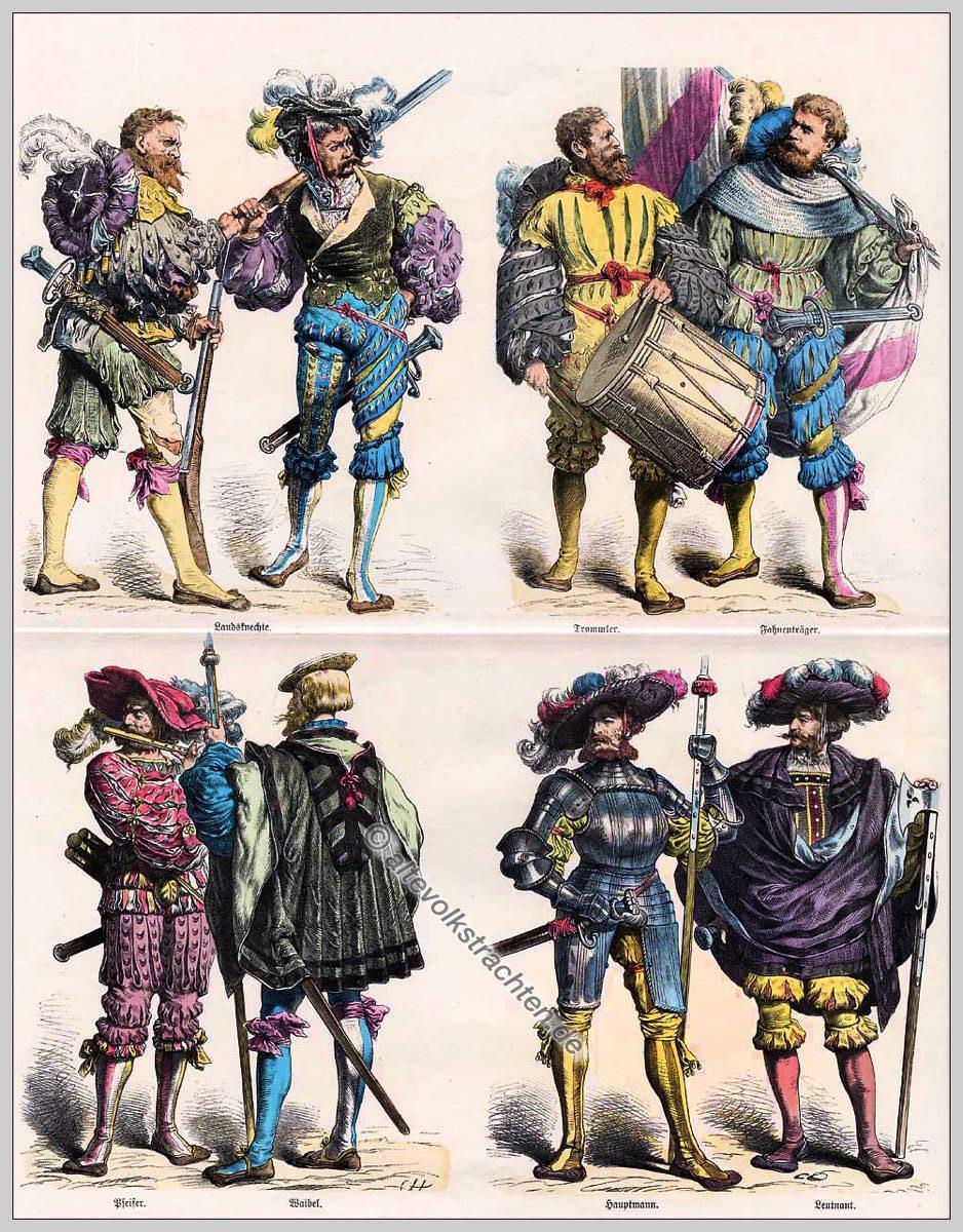 Landsknechte, Trommler, Fahnenträger, Hauptmann, Leutnant, Renaissance, Kostüme, Modegeschichte, Münchener Bilderbogen.