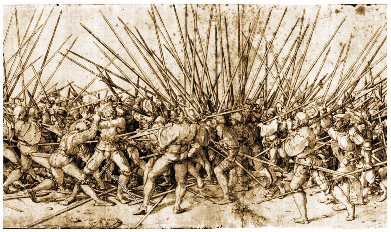 Hans Holbein, Schlachtenszene, Schweizer Reisläufer, Landsknechte