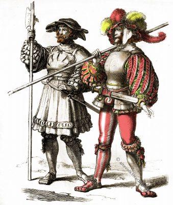 Landsknechte, Renaissance, Kostüm, Modegeschichte, 16. Jahrhundert, Münchener Bilderbogen,