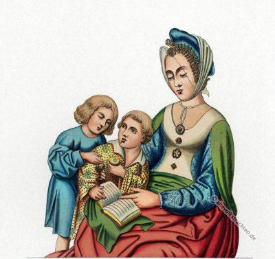 Mittelalter, Frauenkostüm, Kindertracht, 15. Jahrhundert, Kostümgeschichte