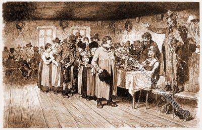 Gastgeschenk, Bauernhochzeit, Trachten, Bayern, Bauernstube, Brautwerbung, Hugo Kaufmann