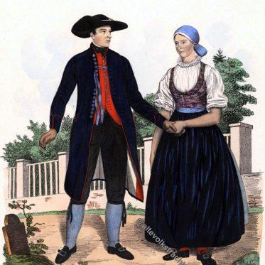 Historische Mähren Trachten. Ehepaar aus Lösch um 1837