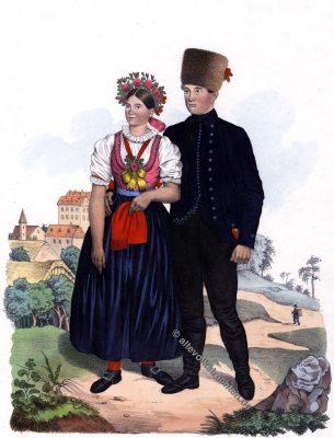 Mährische Volkstrachten, Brünn, Brünner Trachten, Tschechien, Mähren, Kostümgeschichte, Modegeschichte, Historische Kostüme, Sudetenland,