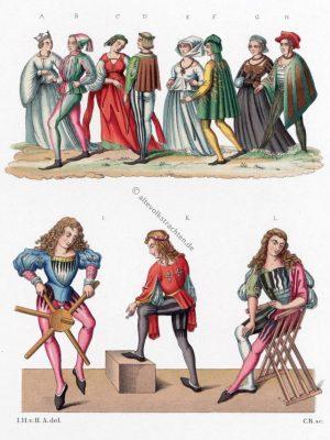 Mittelalter, Trachten, Gewandung, Ärzte, Gotik, Chirurg, Chirurgen, Schnabelschuhe, Schecke