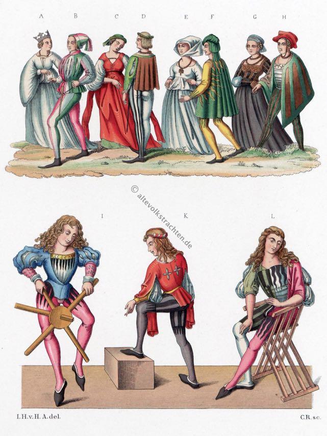 Mittelalter, Trachten, Gewandung, Gotik, Chirurg, Schnabelschuhe, Schecke