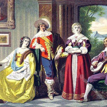 Karl II. England. Kleidung der Aristokratie im 17. Jahrhundert.