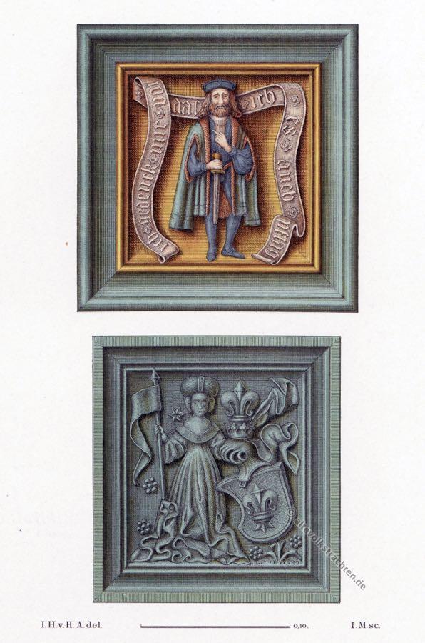 Gotische Ofenkachel. Gotik. 15. Jahrhundert. Mittelalter. Ritter von Dettlingen. Wappen.