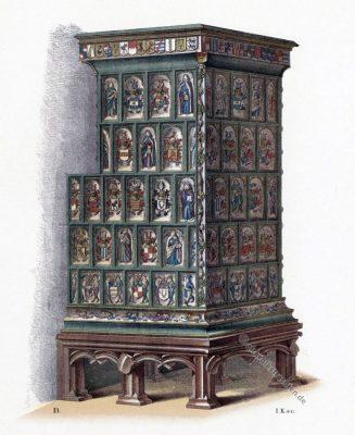 Kachelofen. Mittelalter. Gotik. 15. Jahrhundert. Gotischer Stil.