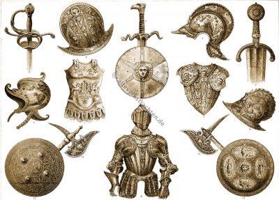 Rüstungen. Waffen. Mittelalter. Renaissance. Ritter. Militär. Schwerter. Schilde