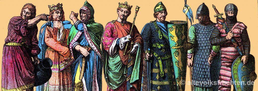 Kleidung, Mittelalter, Germanen, Angelsachsen, Skandinavien, Normannen, Skandinavier, Friedrich Hottenroth, Kostümgeschichte, Modegeschichte, Trachten