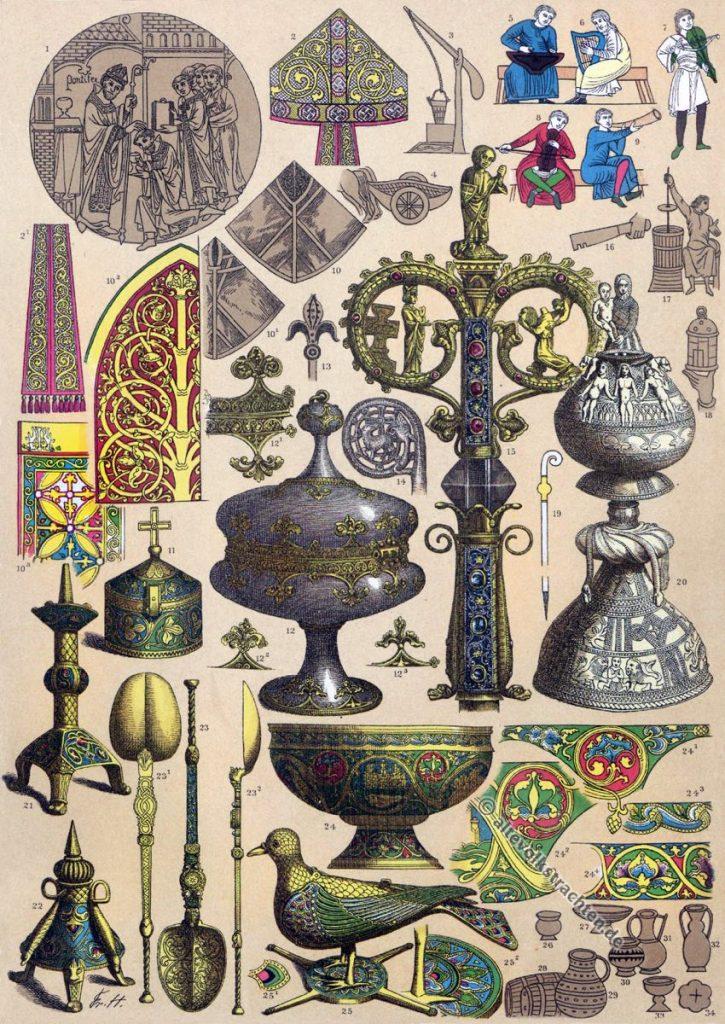 England 12. Jahrhundert, Mittelalter, Kostüme, Thomas Becket, Normannen, Modegeschichte, Kostümgeschichte, Friedrich Hottenroth