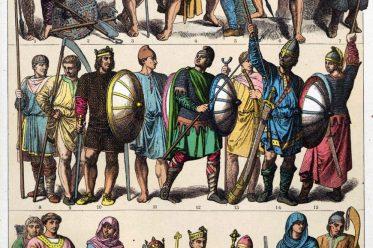 Mittelalter, Gewandung, Wikinger, Nordmänner, Kostüme, Trachten, Schotten, Angelsachsen, Friedrich Hottenroth