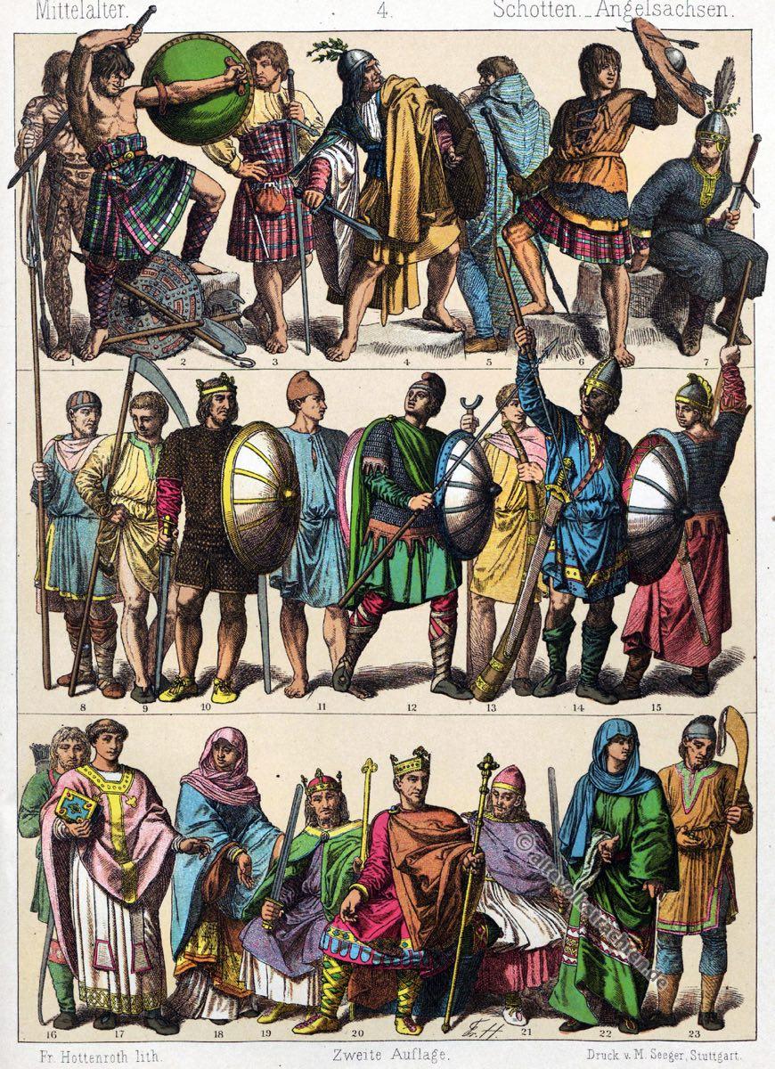 Mittelalter, Kleidung, Kostüme, Trachten, Schotten, Angelsachsen, Modegeschichte, Kostümgeschichte, Friedrich Hottenroth
