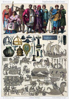 Mittelalter, Kostüme, Bekleidung, Angelsachsen, Anglo-Dänen, Modegeschichte, Kostümgeschichte, Friedrich Hottenroth