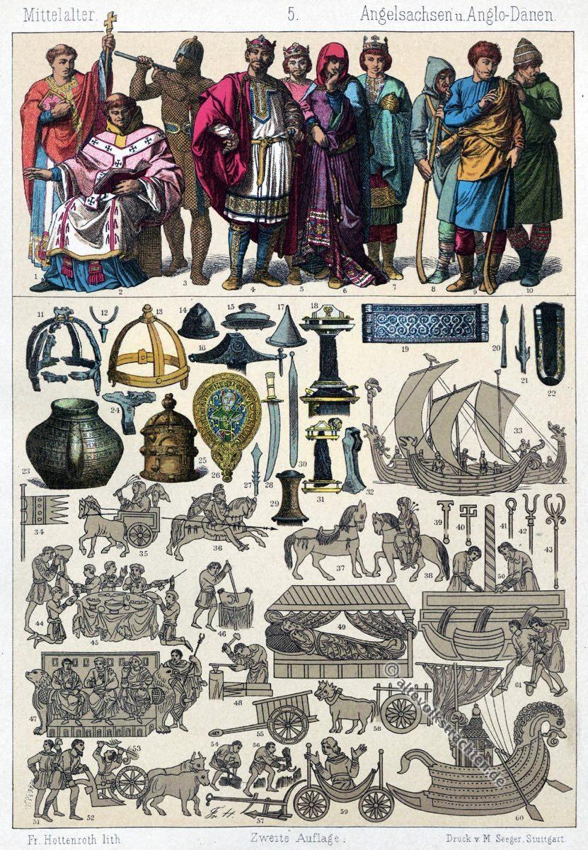 Mittelalter, Gewandung, Wikinger, Nordmänner, Drachenschiffe, Rüstung, Kostüme, Trachten,  Friedrich Hottenroth