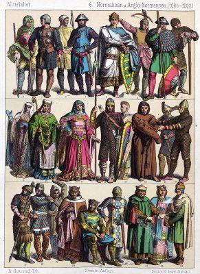 Mittelalter, Kostüme, Bekleidung, Normannen, Wikinger, Angelnormannen, Modegeschichte, Kostümgeschichte, Friedrich Hottenroth