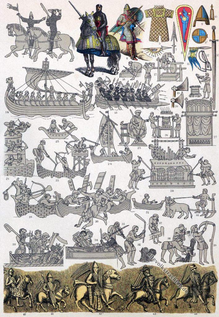 Mittelalter, Kostüme, Rüstung, Ritter, Bekleidung, Normannen, Wikinger, Angelnormannen, Modegeschichte, Kostümgeschichte, Friedrich Hottenroth