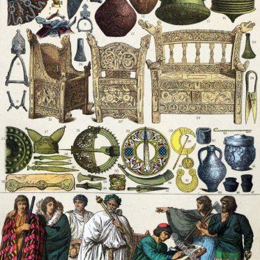 Kleidung der Skandinavier, Bretonen, Irländer im Mittelalter.