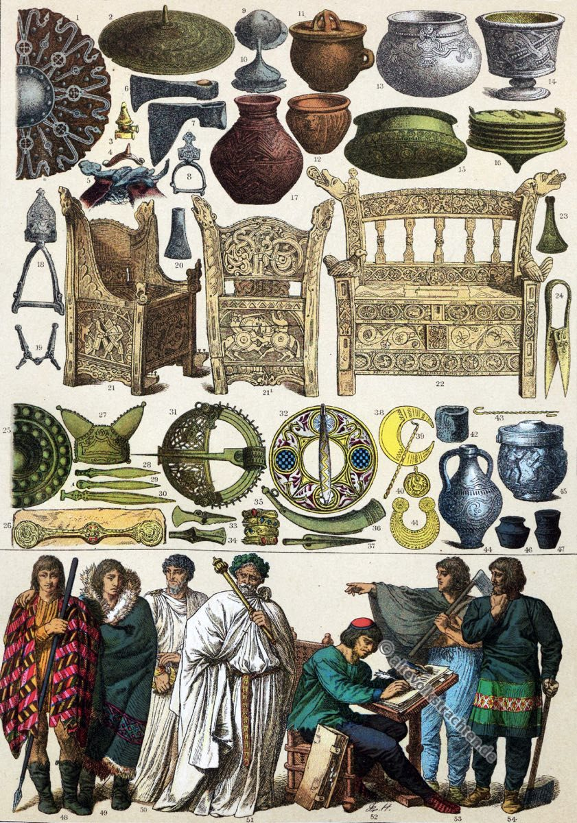 Historische Kleidung, Mittelalter, Friedrich Hottenroth, Kostümgeschichte, Modegeschichte, Trachten, Skandinavier, Bretonen, Irländer