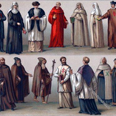 Trachten der geistlichen Orden im Mittelalter.