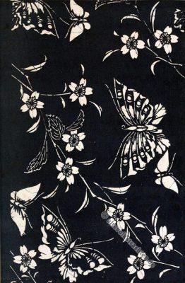 Historische Japan Stoffe. Schmetterlinge und Kirschblütenzweige