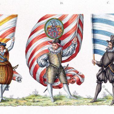Deutsche Studenten mit Fahnen ihrer Wappen oder Wappenfarben.