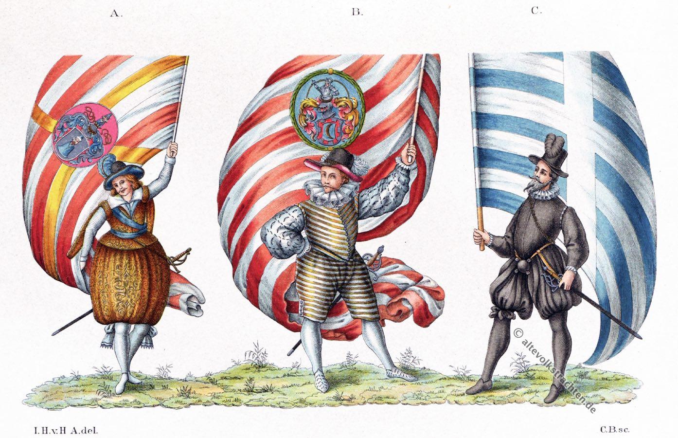 Studenten, Kostüme, Barock, 15. 16. Jahrhundert, Kleidung, Fahnen, Zünfte