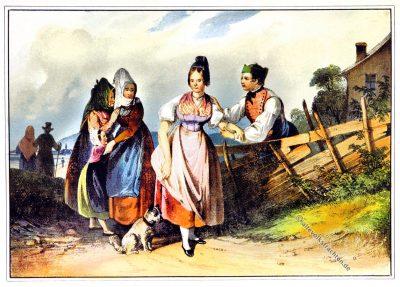 Trachten, Kreis Ober-Manhartsberg, Niederösterreich, Waldviertel, österreichische Monarchie, Österreich, Kostümgeschichte,
