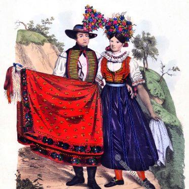 Mährische Volkstrachten aus Klobouk um 1837