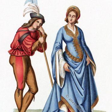 Schweizer Garde und Hofdame der Renaissance