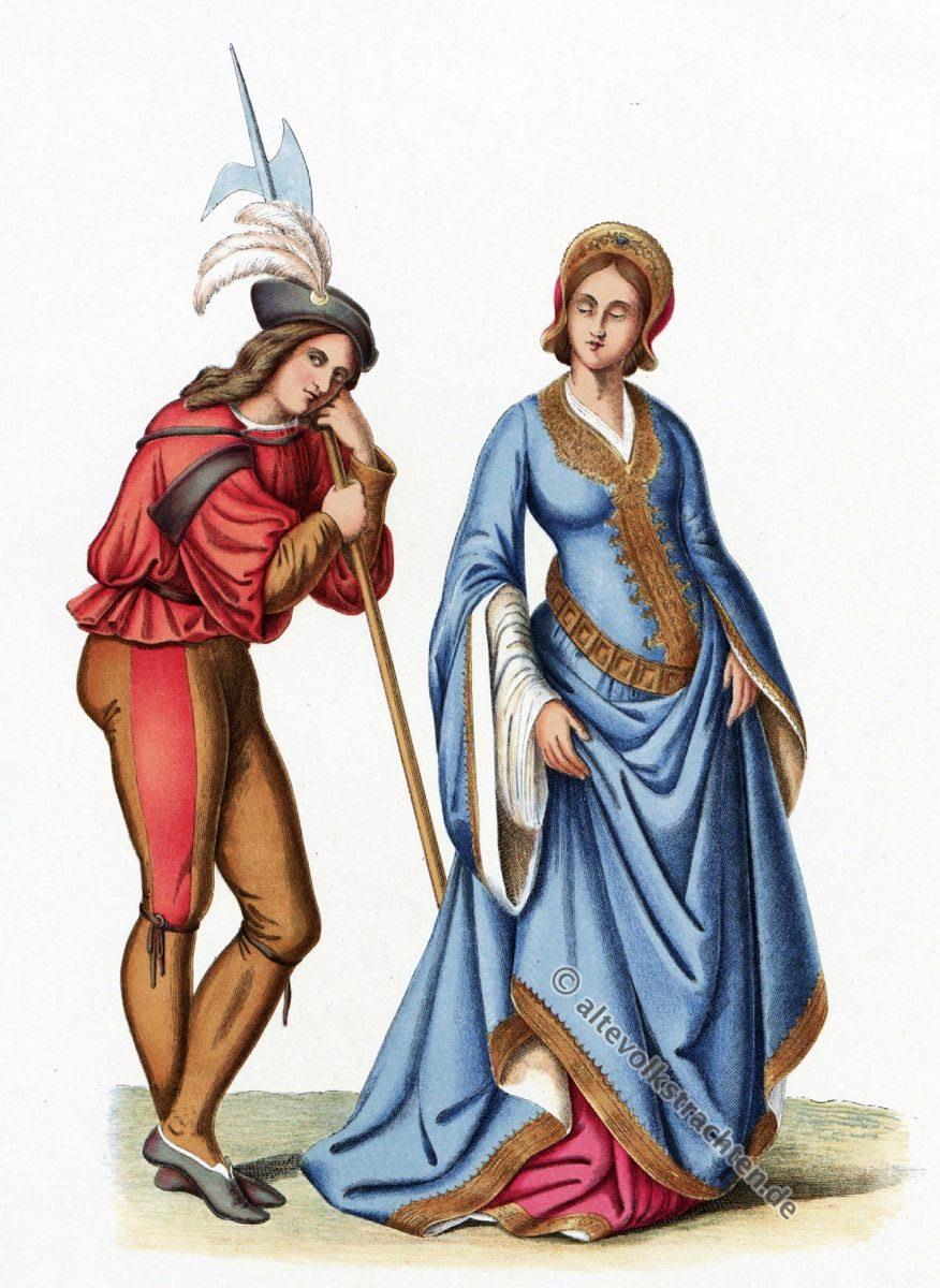 Renaissance, 15. Jahrhundert, Schweizer Garde, Hofdame, Modegeschichte, Kostümgeschichte