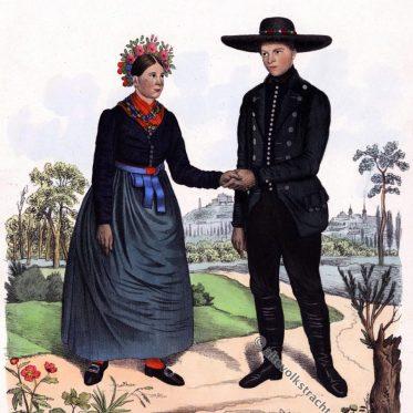 Mährische Volkstrachten aus Kumrowitz. Lediges Paar um 1837.