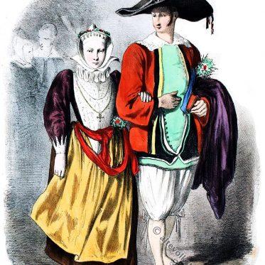 Bretagne 1865. Batz-sur-Mer, historische Trachten