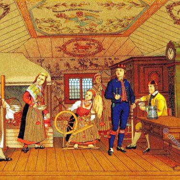 Bauernstube im Kirchspiel Delsbo in Hälsingland.