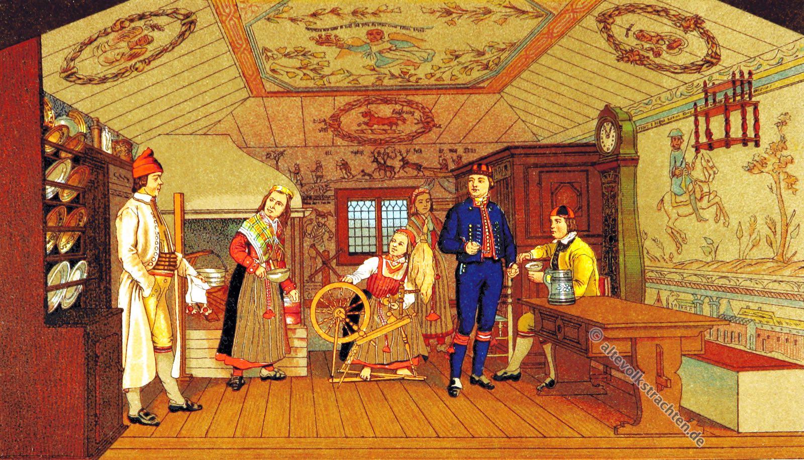 Bauernstube, Volkskostüme, Historische Volkstrachten, Skandinavien, Trachten, Delsbo, Schweden, Hälsingland, Helsingland