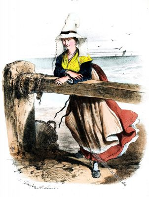 Belle-Isle en Mer, Tracht, Trachten, Bretagne, Frankreich, Historische Kleidung, Modegeschichte, Kostümgeschichte,